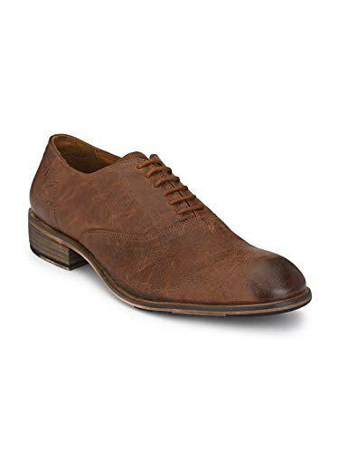 Delize Genuine Leather Derby Shoes For Men's(tan)