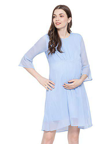 Oxolloxo Women's Polyester Long Sleeve A-line Maternity Dress (blue)