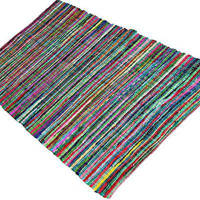 AJS Living Hand Woven And Reversible Rectangle Chindi Braid Jute And Cotton Rug for Living And Dining Room (2.6x6 feet, Multicolour)