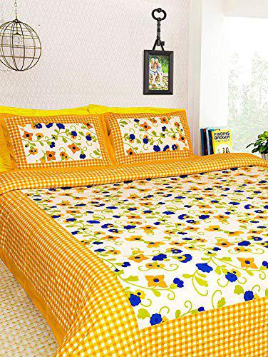 Bedsheet Fashion Hub Flower Printed Printed Cotton Double Bed Size Bedsheet/Tapestry for Wall Hanging Decoration with Pillow Cover (Multi) (91x86 Inches)