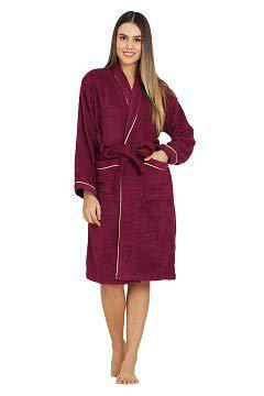 Divine Overseas - Double Sided Terry Premium Shawl Collar Higher Absorbency -100 Pure Cotton (Celestial Bathrobe S M, Cheer Wine)