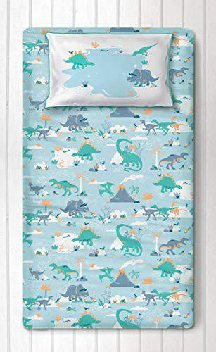 Silverlinen Snooze & Roar Dinosaur 100% Cotton 250 TC Single Bedsheet for Kids Room for Boys and Girls with One Pillow Cover - Multicolour