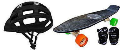 Jaspo Ride on Penny Board Eco Skateboard Combo (22 * 5.5) for Age Group Upto 10 Years (Multi-Colour-Wheels)