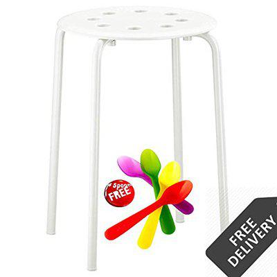 Ikea Stool, Made in Strong Steel Material Very Durable, Powder Coated Finish Colour,Store in Very Less Space (1Nos)