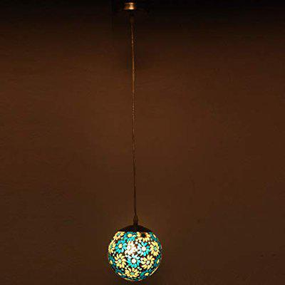 Globe Shape Doom Pendent Hanging Colourful Ceiling Lamp Light, Compatible with 5 to 60 Watt LED, Round, Glass