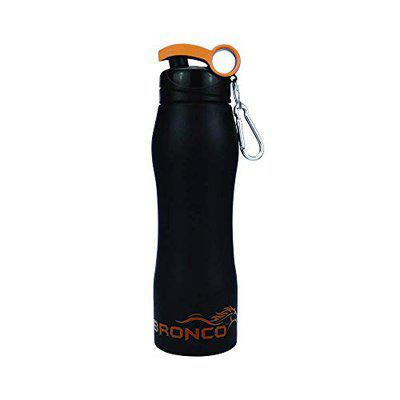 FPR Bronco Pure Stainless Steel 750ml Single Wall Sports Bottle for Gym, Collage, Sports, Office etc - (Matt Black)