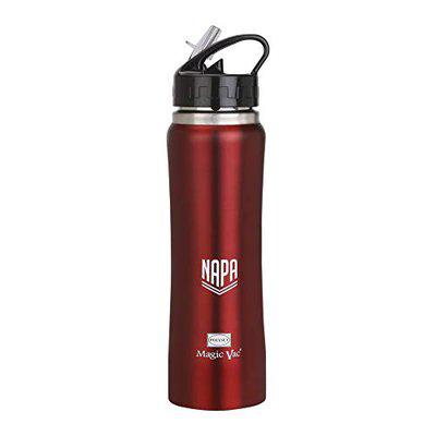 Polyset Napa, Vacuum Insulated Steel Bottle, Red, 750 ml,Straw Sipper, School and Sports Water Bottle, Leak Proof, Hot and Cold, Everyday Travel Thermos