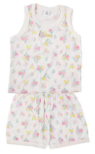 TOFFYHOUSE Flower Print Night Suit for Girls, White, 24-36 Months