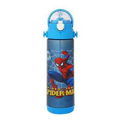 OnlineWorld Double Vacuum Insulated Kid's BPA-Free Cartoon Printed Stainless Steel Sipper Water Bottle (Blue, 500 ml)