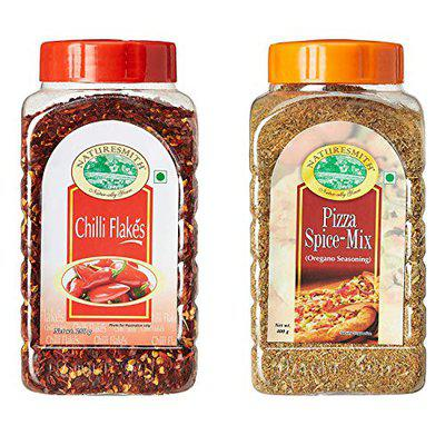 Nature Smith Pack of 2 Combo ( Pizza Spice 400g + Chilli Flakes 250g)