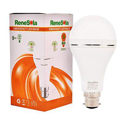 Renesola Rechargeable Emergency 9 Watt b22d LED Inverter Bulb for Home, Office, Factory, Cool Daylight , WHITE