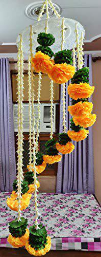 dannyboyzs 2 Brothers Reusable Artificial Marigold Flower Hanging Chandelier, Jhoomar for Diwali, Home and Party Decoration
