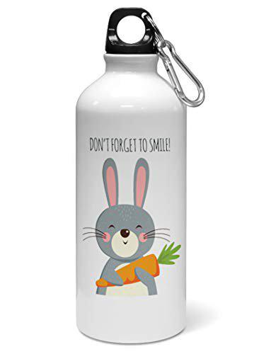 Madanyu Water Sipper Sports Bottle - Quotes Printed Aluminium 650ml - Gym Bottle Shaker - Don?t Forget to Smile Cute Bunny