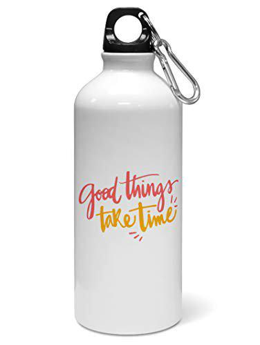 Madanyu Water Sipper Sports Bottle - Quotes Printed Aluminium 650ml - Gym Bottle Shaker - Good Things Take Time Inspirational Quote