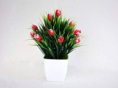 ASHIYANADECORS Artificial Natural Looking Tulip Arrangement with Pot (Red)