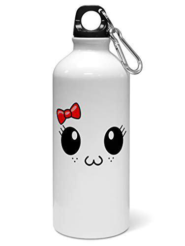 Madanyu Water Sipper Sports Bottle - Quotes Printed Aluminium 650ml - Gym Bottle Shaker - Cute Cat Face Art