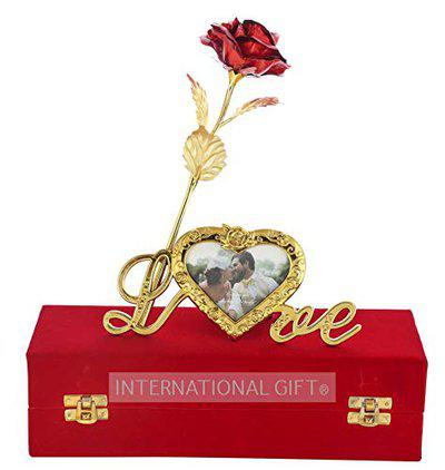 International Gift Artificial Rose Flower and Heart Photo Frame Love Shape Stand and Luxury Gift Box (Red)