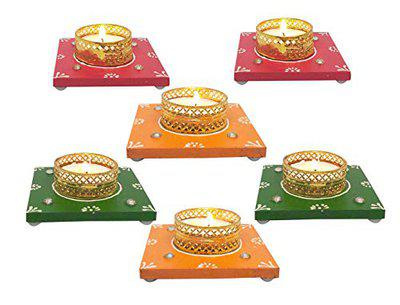 Saugat Traders Wooden Tea Light Candle Holders for Christmas Gift for Home Decor-Temple-Wedding-New Year-Housewarming-Inauguration Parties-Multi-Color