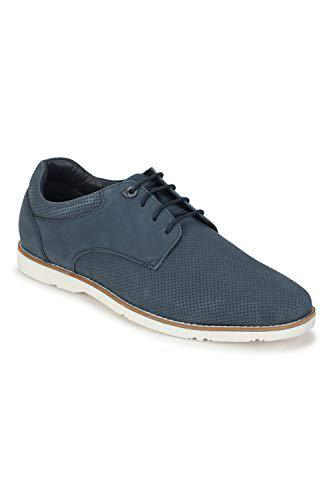 Van Heusen Men's Navy Leather Sneakers (44.5 EU) () (VHSCDRGFL000050)