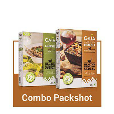 GAIA Muesli Combo Pack Nutty Delight 400 gm and Diet Sugar Free 400 gm (Super Saver Pack)