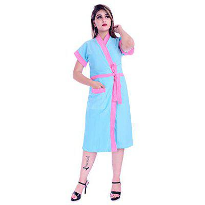 Poorak Silver Collection Free Size Upto 42 Inches Bath Robe for Women -Pink Sky Blue