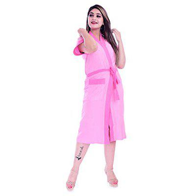 Poorak Silver Collection Free Size Upto 42 Inches Bath Robe for Women -Pink Light Pink