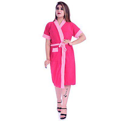 Poorak Silver Collection Free Size Upto 42 Inches Bath Robe for Women -Pink Dark Pink