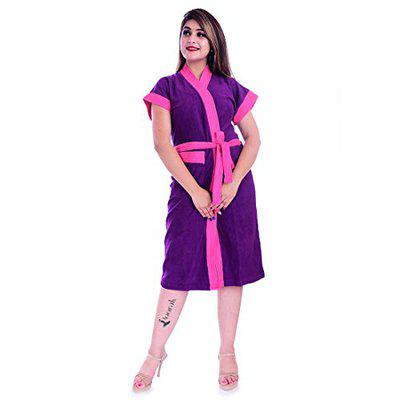 Poorak Silver Collection Free Size Upto 42 Inches Bath Robe for Women -Dark Pink Purple