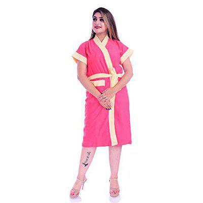 Poorak Silver Collection Free Size Upto 42 Inches Bath Robe for Women -Beige Pink