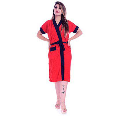 Poorak Silver Collection Free Size Upto 42 Inches Bath Robe for Women -Black Red