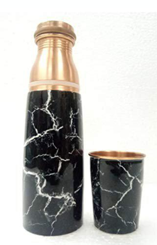 pure copper bottle with mina print and a glass (950ml)