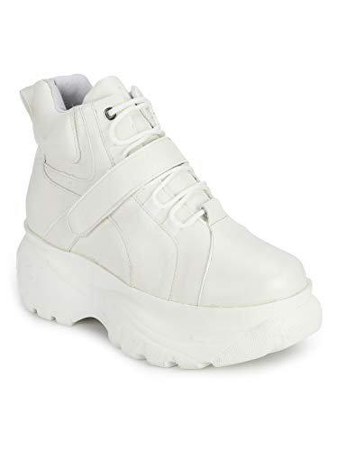 TRUFFLE COLLECTION Women's BLOWN3 White PU Sneakers - 4