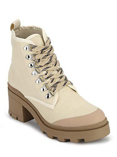 Truffle Collection Women's Perry2 Beige Canvas Boots6