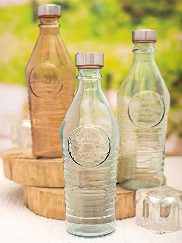 WHITEGOLD Glass Bottles with Airtight Cap for Water, Juice (Set of 3 pcs)