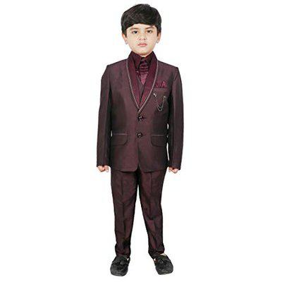 SG YUVRAJ Coat Pent with Waistcoat,Shirt and Tie For Boys(DL-TP-1023-WINE-10)