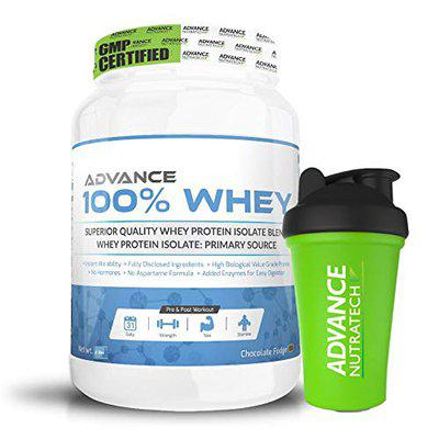 Advance Nutratech 100% Whey Protein Powder - 1Kg (Chocolate) | Free Shaker | Flavoured Supplement | for Men And Women | Lean Muscle | Trial Traveller Refill Pack | with Digestive Enzymes Keto Beginners