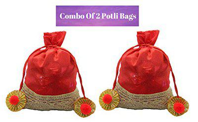 Rich'U Chocolates - Chocolate Gift Pouch - Red Silk Potli Pouch Bag with Chocolates (15 Pcs) Best for Diwali Bhai Dooj Gift Combo of Two Potli Bags