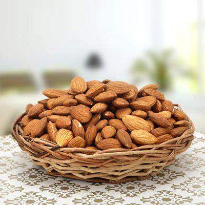 Token of Care for Diwali 500 Grms of Almonds in Cane Basket