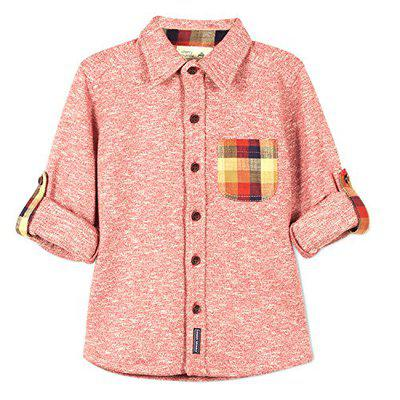 Cherry Crumble California Kid's Cotton Solid Checkered Pocket Knit Shirt (Caramine, 18-24 Months)