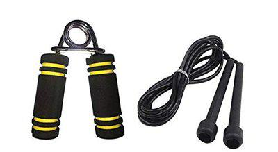 VICTORY Ultimate Soft Foam Handle 1 PC & Skipping Rope (Colour May Vary) (Yellow)