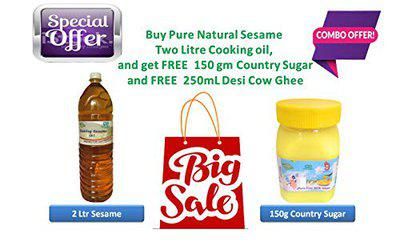 99Auth 2L Raw Raw Cold Pressed Gingelly Oil + Free 250g Pure Desi Cow Ghee. Raw Pure Adulteration Free Products. || Buy 2 Get 1 Free ||