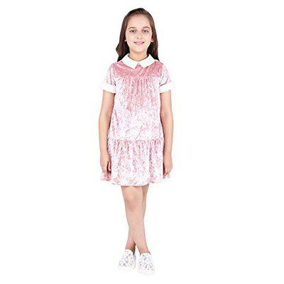 One Friday Pink Velevt Dress for Girls Pink, 5-6 Y