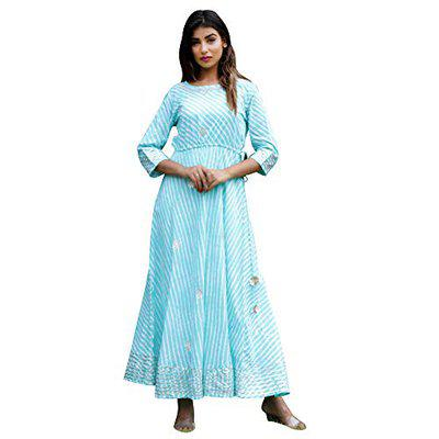 Navisa Women Turquoise Long Flared Gota Patti Cotton A-Line Printed Kurti with 3/4 Sleeve in Round Neck Size (S to 3XL)