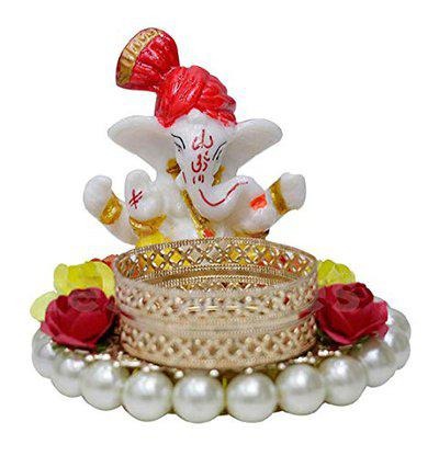 MADHAV Unique Designer Specially Handcrafted Artificial Flowers and Pearls Decorative Ganesha Tealight/Diya/Candle Holder/Festive Decor
