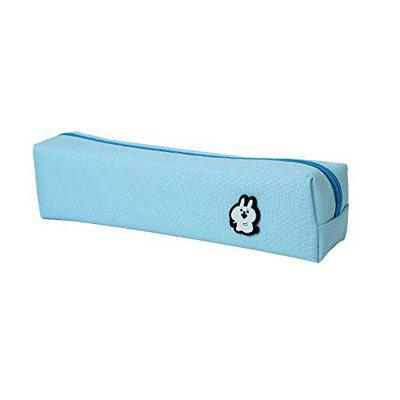 EN Blue Cloth 8X2 Plain Pencil Case Case Pouch Pack of 2