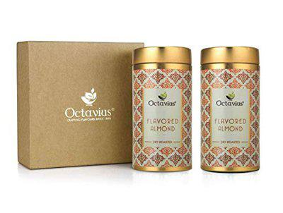 Octavius Gourmet Flavoured Almonds | Choco 'N' Caramel Crunch | Packed In Festive Gift Box | Two Sweet Flavours | Chocolate & Caramel | Perfect For Gifting - 100 Gms Each