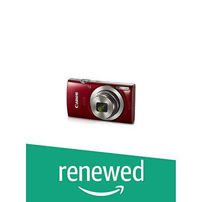 (Renewed) Canon IXUS 185 20MP Digital Camera with 8X Optical Zoom (Red) + Memory Card + Camera Case