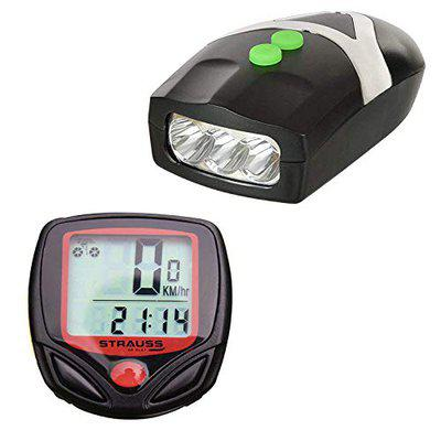 Strauss Bicycle LED Headlight with Horn and Bicycle Speedometer, (Black/Red)