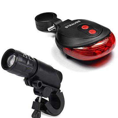 Strauss Bicycle Flash Tail Light with Laser, (Black) and Bicycle Zoom LED Torch with Mount Holder