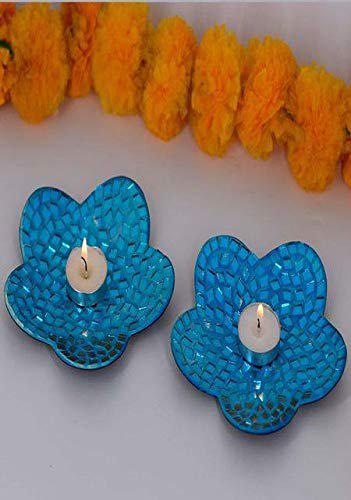 MITHILA Set of 2 Designer Tray Tealight Holder with Tealight Candle for Home Decoration (Blue)
